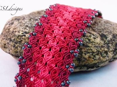 Rosebud micro macrame bracelet