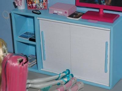 Como fazer balcão com portas de correr para boneca Monster High, Barbie, etc