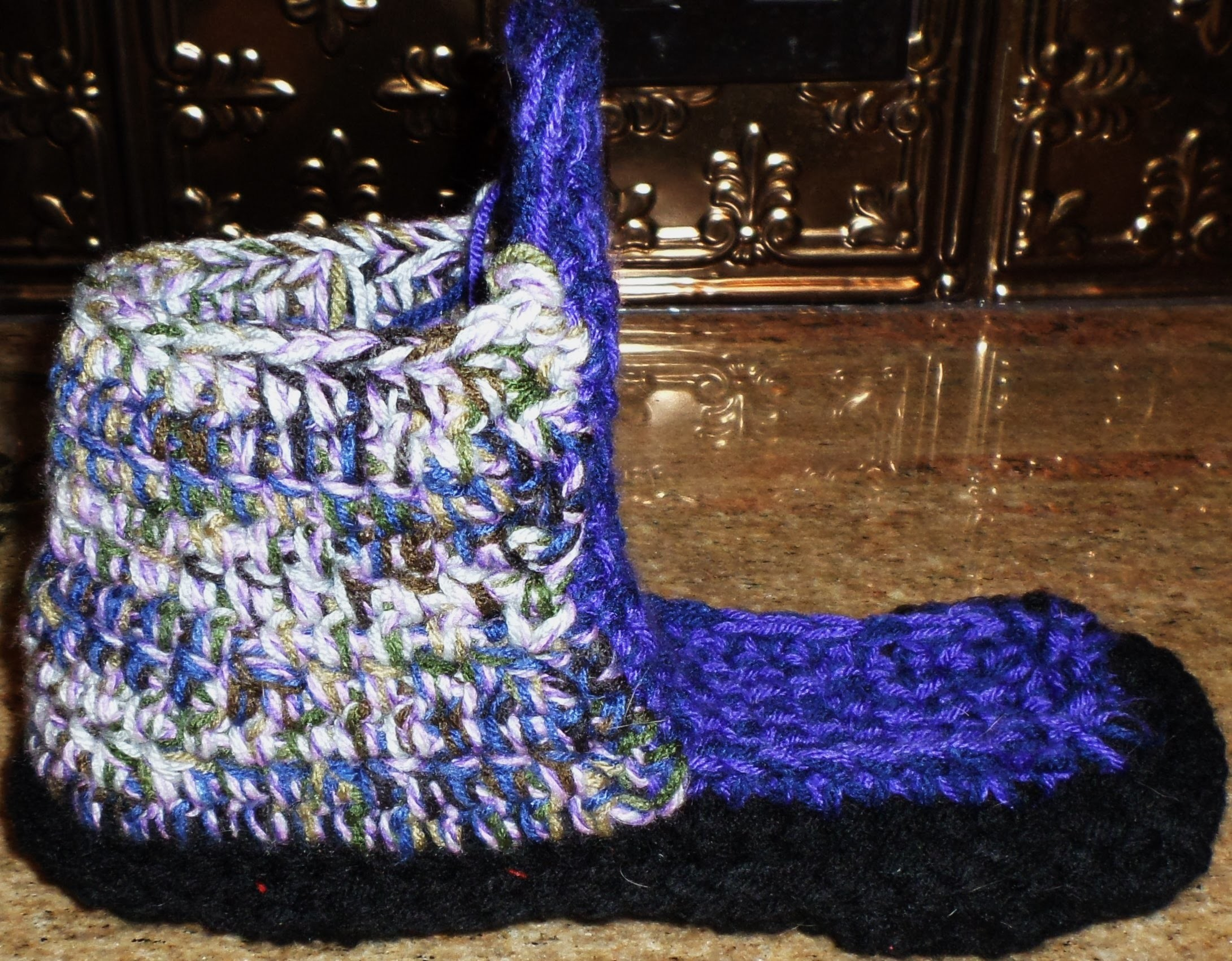 Crochet Slipper Boots -Step 3- w. back & forth sole
