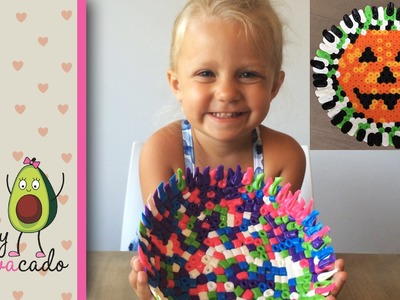 DIY Melted Perler Beads Bowl - Make an Easy Jack-O-Lantern Halloween Candy Bowl w. Biggie Beads!