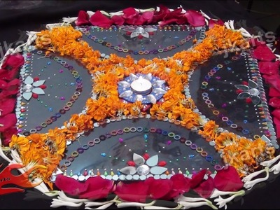 DIY Rangoli With Mirror, Kundan and Fresh Flowers -JK Arts 179