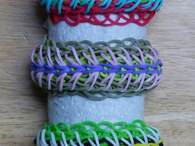 "Rainbow Loom Bracelet - Original Design - ""CATTY PILLAR"" (ref # 3Pq)"