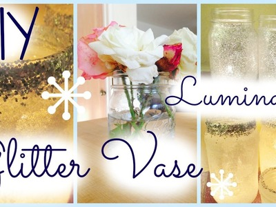 DIY Holiday Mason Jar Frosted and Glitter Candle Holders⎮Glitter Vase