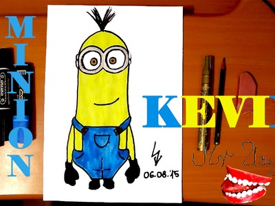 How to draw a MINION Kevin Easy from DESPICABLE ME 2,draw easy stuff but cool on paper,SPEED ART