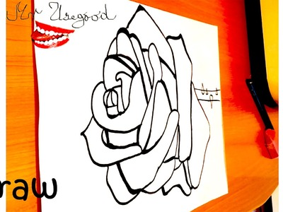 How to draw a ROSE Easy for kids with Pencil - Open rose for Valentine, SPEED ART