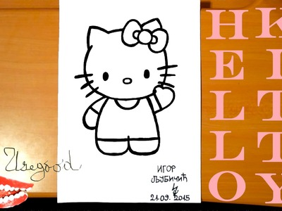 How to draw HELLO KITTY Easy Full Body Cute Art for kids, draw easy stuff but cool, SPEED ART