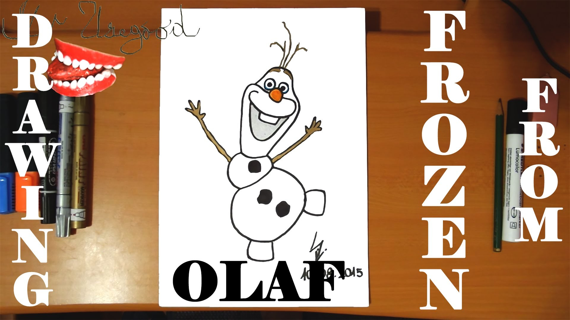 How to draw OLAF from FROZEN FEVER Easy DISNEY,SPEED ART,Olaf the Snowman,draw easy stuff