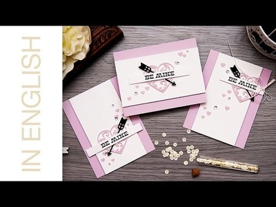 Textured paper Valentine's Day Cards. Clean & Simple Die Cutting #37