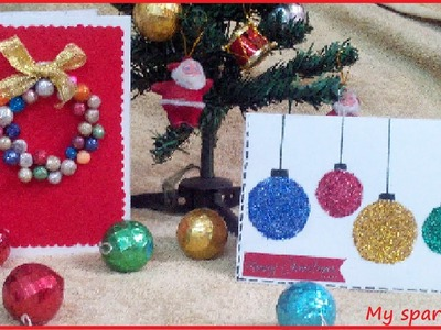 DIY Christmas Cards. (Ornaments and Wearth) easy Holiday 12