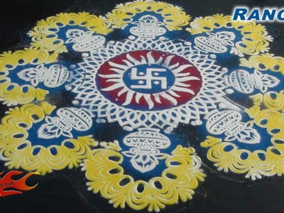 DIY Easy Rangoli With Stencil | How To make | JK Easy Craft 068