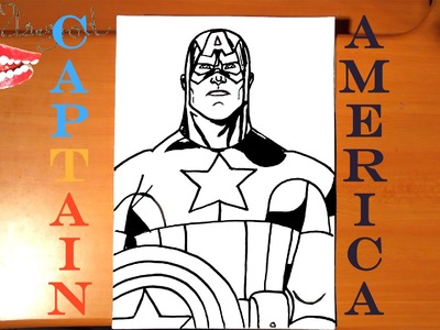How to draw CAPTAIN AMERICA Easy from AVENGERS Marvel, draw easy and cool stuff, SPEED ART