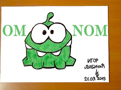 How to draw OM NOM from Cut the Rope Easy, draw easy stuff but cool | SPEED ART