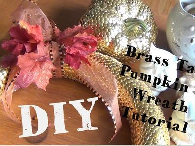 DIY Décor ♥ Brass Tack Pumpkin and Wreath