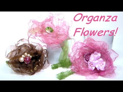 DIY organza flower hairclips