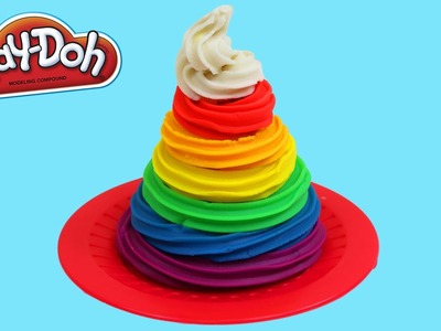 Play Doh Rainbow Swirl Ice Cream Fun & Easy DIY Play Dough Dessert Creations!