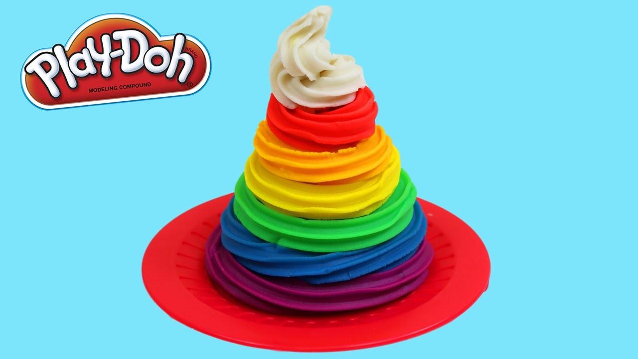Play Doh Rainbow Swirl Ice Cream Fun & Easy DIY Play Dough Dessert Creations!
