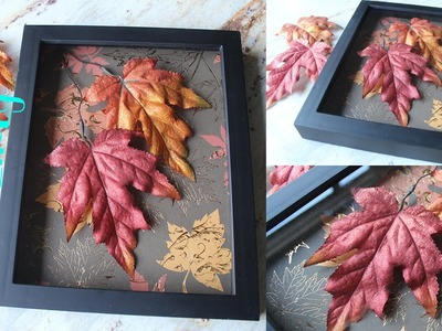 DIY Apartment.Room Decor: Autumn Leaves Shadow Box
