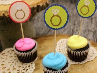 DIY Bridal Cupcake Toppers - FREE Printables