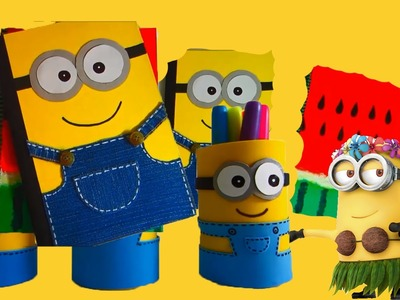 DIY minion Back To Scool Ideas Pecil Holder. Notebooks. Supplies 2015