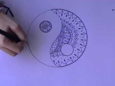 DIY YIN AND YANG mandala  draw