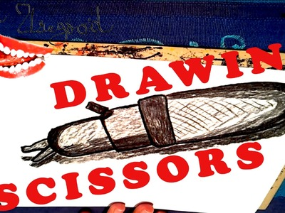 How to draw SCISSORS Easy 3D with Charcoal for kids, draw easy stuff but cool 3D | SPEED ART