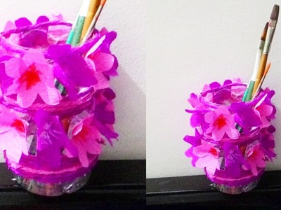 How to make waste bottle flower vase || DIY waste bottle pen holder