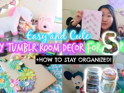DIY Tumblr Room Decor for Spring! + Organization for Cheap♡