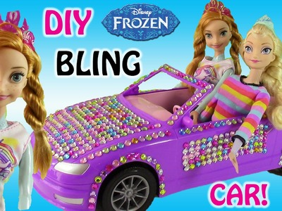 Frozen Disney Princess Anna & Elsa DIY Bling Car! Anna & Elsa Makeover with Barbie Clothes!
