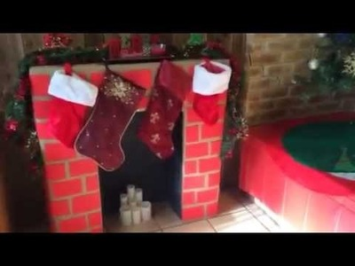 DIY Cardboard Fireplace, Christmas 2014