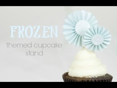 """Frozen"" Cupcake Stand with Rosette Toppers 
