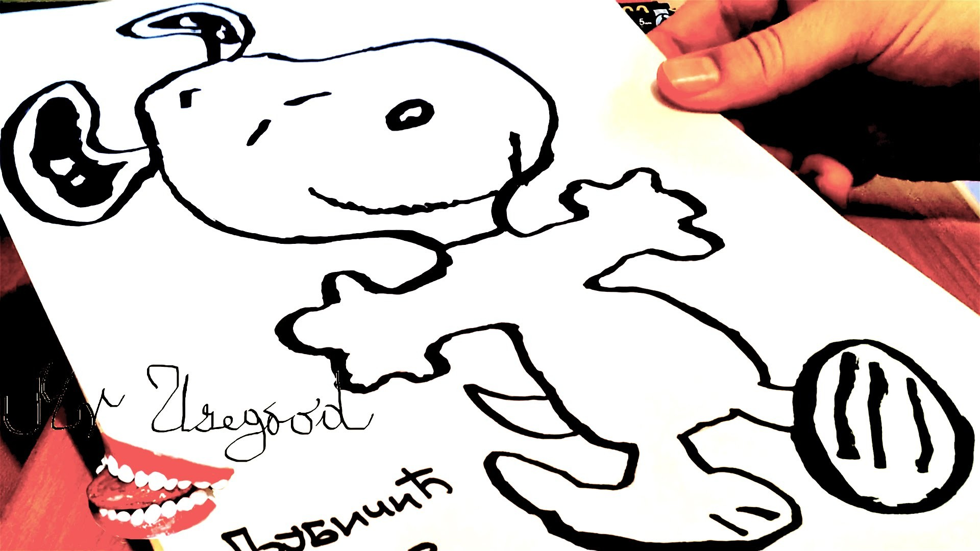 How to draw SNOOPY EASY dancing Dog for kids | draw easy stuff.things but cool | SPEED ART