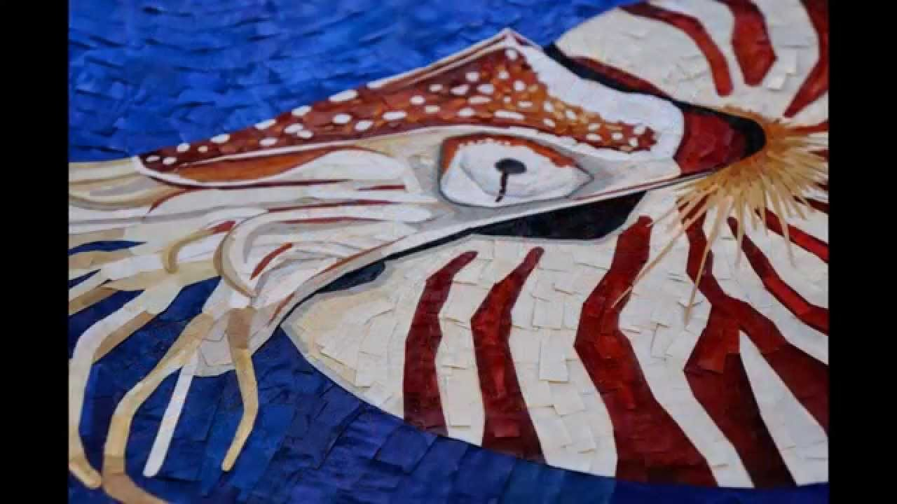 """Paper Mosaic by Crystal Davis. The Making of """"Archaic"""" the Nautilus."""