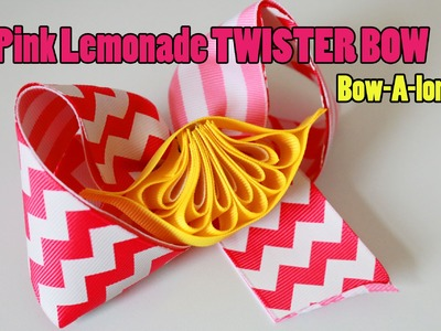 Pink Lemonade.LEMON Twister hairbow DIY. BOW-A-LONG