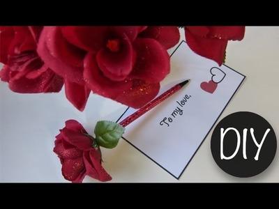 Valentine DIY   Red Rose Flower Pen ♥