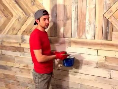 DIY: whitewash wood wall.