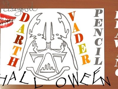 How to draw Halloween stuff easy: draw DARTH VADER Pumpkin Carving Easy, Pencil, SPEED ART