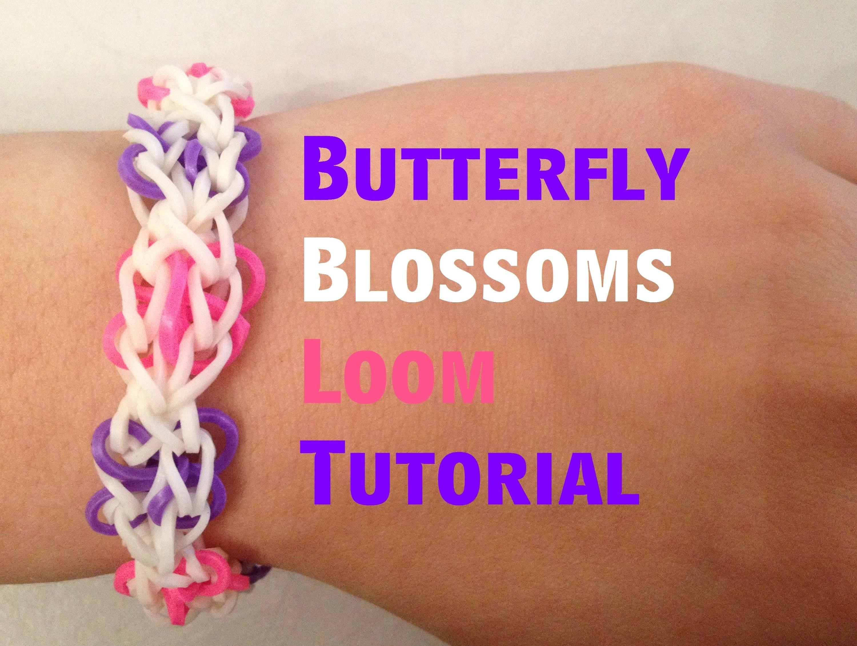 Loom bands BUTTERFLY BLOSSOMS Bracelet tutorial l JasmineStarler