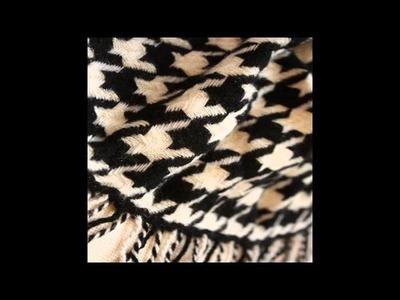 Pashmina Houndstooth Wool Scarf Black White Shawls