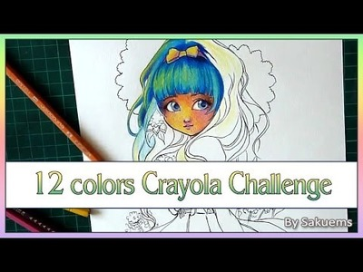 Crayola. Colored pencils CHALLENGE 12 colors drawing *Skip at 14:10 for the drawing*