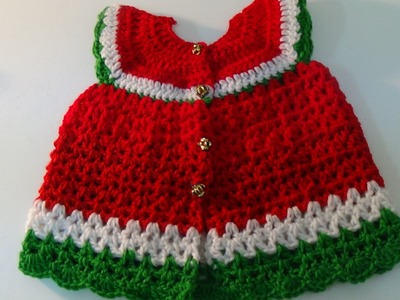 Crochet Water Melon  Baby Dress-2