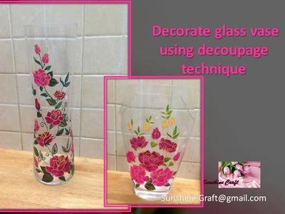 Decorate glass vase using decoupage technique