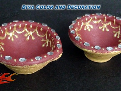 DIY Diwali Diya Decoration|How to color and decorate |JK Easy Craft 061