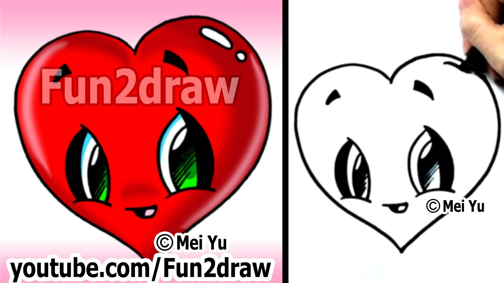 How to Draw a Heart - Easy & Cute! - Popular Cartoon Drawing Video - Fun2draw