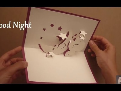 How To Make A Good Night Pop Up Card, Moon Hug Pop-up Card Tutorial