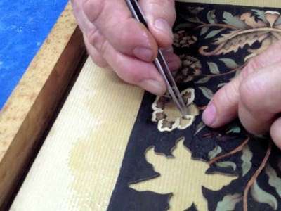 Marquetry on an assembly board - paperbacked marquetry