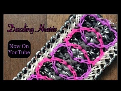 Rainbow Loom Dazzling Hearts Bracelet Tutorial.How To