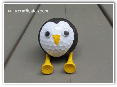 DIY Recycled Golf Ball Penguin