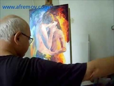 Artist Leonid Afremov painting a new painting by Palette Knife and Oil