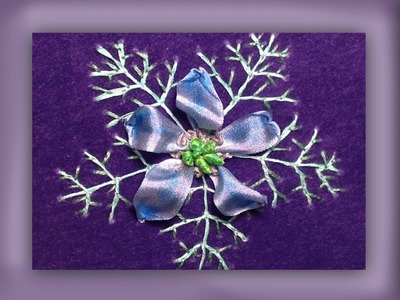 How to embroider a silk ribbon love in a mist flower