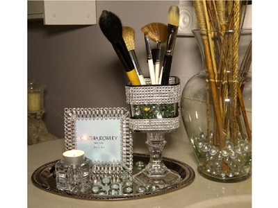 Blingy Makeup Brush Holder Dollar Tree DIY Challenge with 334bamagirl